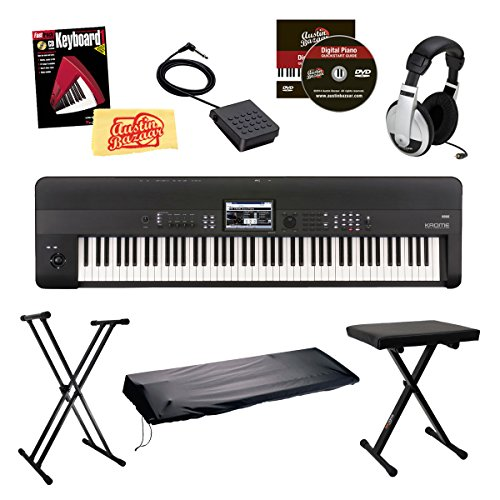 Korg KROME88 Music Workstation Keyboard/Synthesizer 88-Key Bundle with Bench, Keyboard Stand, Dust Cover, Sustain Pedal, Headphones, Instructional Book and DVD, and Polishing Cloth - Black by Korg
