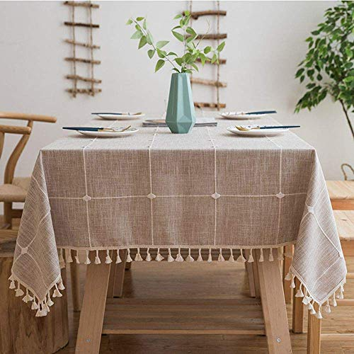 Melaluxe Stitching Tassel Tablecloth Heavy Weight Cotton Linen Fabric Dust-Proof Table Cover (Rectangle, 55 x 70 Inch, Khaki)