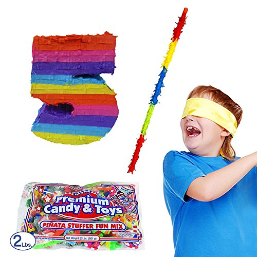 Number 5 Pinata Kit Including Pinata, 2 lb Candy Filler, Buster Stick and Bandana for Kids Fifth Birthday -