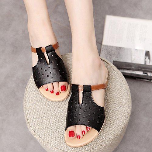 zapatillas zapatos playa de verano Negro de VENMO Sandalias las casual puntas Antideslizante cinco de mujeres O4wanCq5
