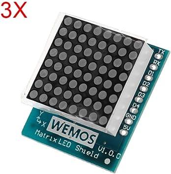 8 Step Adjustable Intensity 8x8 Matrix LED V1.0 Shield for WEMOS D1 mini