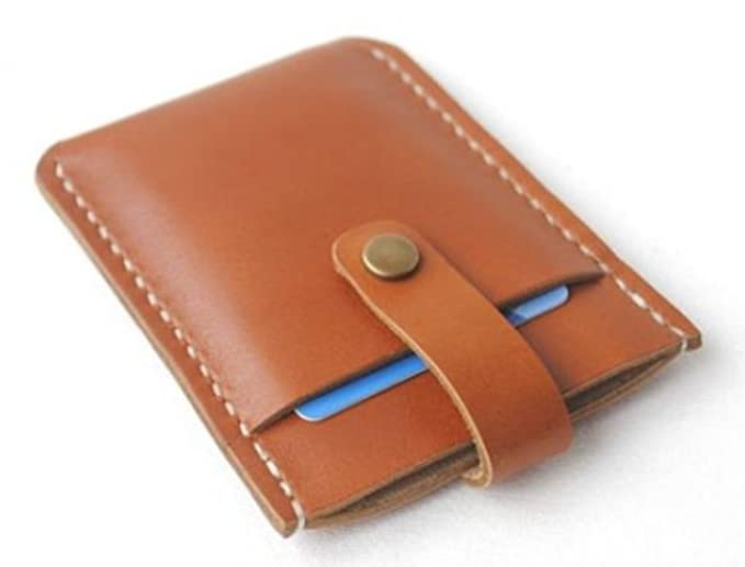 Wallet purse for men women cow Leather name Card Case Holder bag brown z753