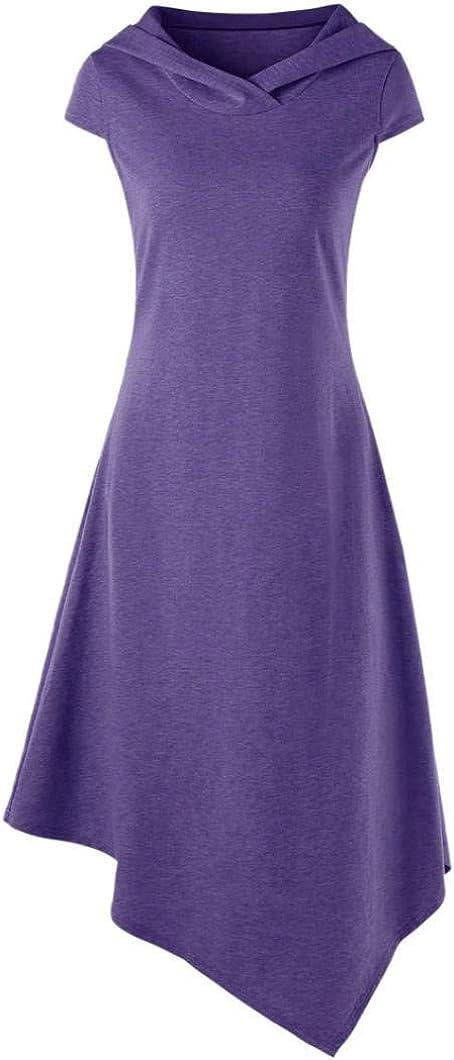Vestito da Donna Maniche Corte Chic Allentate Giovane Maniche Corte Abiti da Cocktail Gotici Abiti Eleganti Eleganti Vestiti da Camicia Asimmetrici