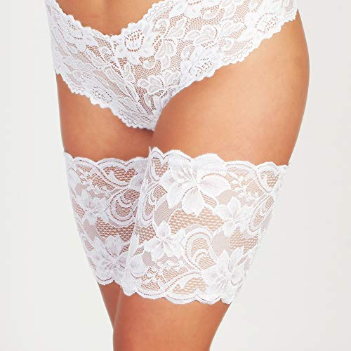 White Lace Thigh Guards - Anti-Thigh Chafing Leg Bands - No-Slip Gripper at Top and Bottom of Each Sleeve to Prevent Inner Thigh Chafing - Made in USA (Size 1)