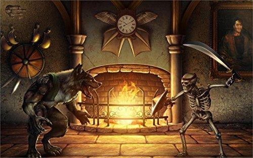 Tomorrow sunny 24X36 INCH / ART SILK POSTER / Dark Killer_Instinct_Sword_Skeleton_Werewolf_Fireplace_dark_battle_fire_weapons by Tomorrow sunny