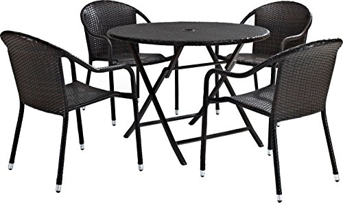 Crosley Furniture KO70012BR Palm Harbor 5-Piece Outdoor Wicker Cafe Dining Set - Brown (Outdoor Piece 5 Dining Wicker Set)