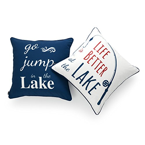 (Hofdeco Lake House Indoor Outdoor Pillow Cover ONLY, Water Resistant for Patio Lounge Sofa, Navy Red White Life Better Go Jump in Lake, 18