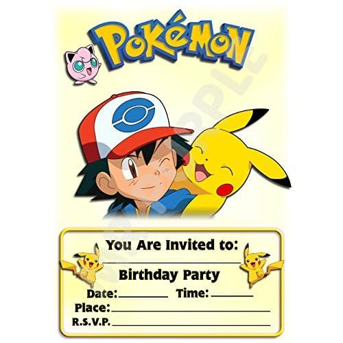 Pokémon fête d'anniversaire Invite–Portrait en frêne et Pikachu Design–Fête/accessoires (lot de 12A5invitations) WITH Envelopes