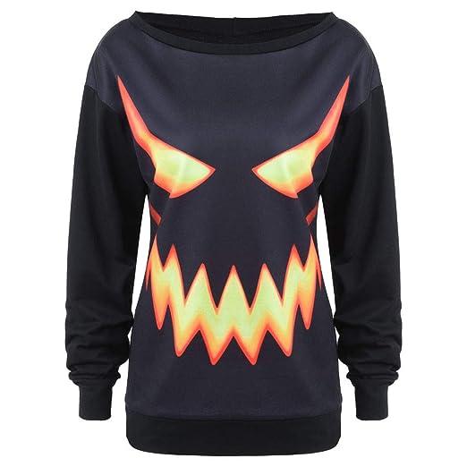 NREALY Womens Black Halloween Pumpkin Face Printed Sweatshirt Jumper Pullover Tops(S, Black)