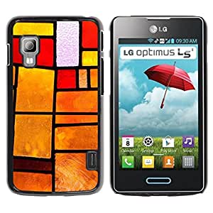 Caucho caso de Shell duro de la cubierta de accesorios de protección BY RAYDREAMMM - LG Optimus L5 II Dual E455 E460 - Stained Glass Window Orange Fire Sunset