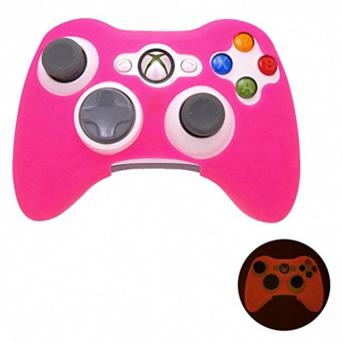 Generic Xbox 360 Game Controller Silicone Case Skin Protector Cover Pink Glow in Dark (Pink Xbox 360 Controller Cover compare prices)