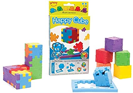 Happy, Happy Cube, Set of 6 Foam Puzzle Cubes, Ages 5 to 99