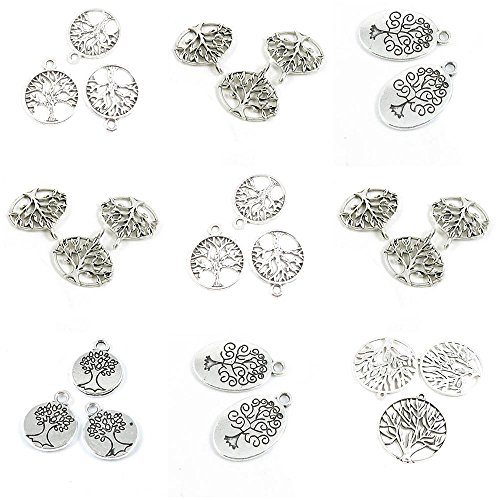 - 25 Pieces Antique Silver Tone Jewelry Making Charms Life String Tree Oak Tag