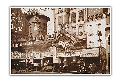 Moulin Rouge Theatre and Cinéma - Paris, France - Vintage Cabaret Casino Poster c.1930s - Master Art Print - 13in x 19in