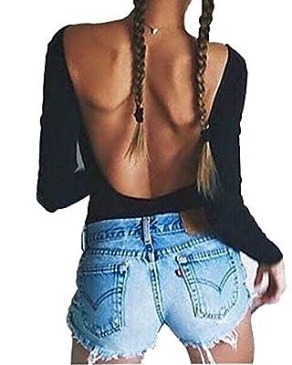 Mangopop Sexy Black Backless Long Sleeve Bodysuit Jumpsuits Clubwear