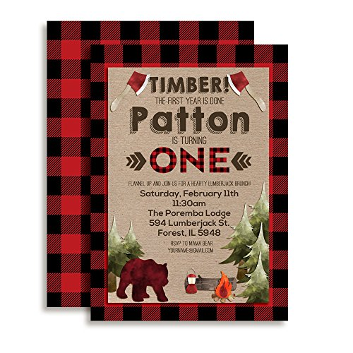 Lumberjack 1st Birthday Custom & Personalized Party Invitations, Twenty 5 X 7 Cards Including 20 White Envelopes by AmandaCreation Perfect for First Birthday Parties