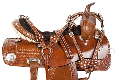 PREMIUM 14 15 16 WESTERN BARREL RACING PLEASURE TRAIL HORSE LEATHER SADDLE TACK SET (14) (Tack Saddle Trail Pleasure)