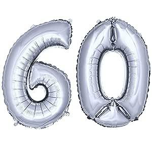 DekoRex® número Globo decoración cumpleaños Brillante para Aire en argentado 40cm de Alto No. 60