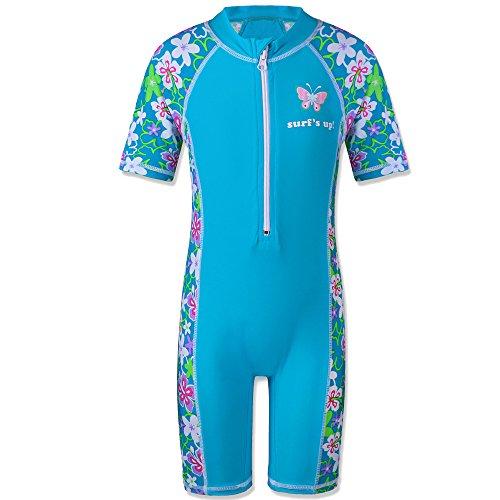 (TFJH E 1PCS Girls Long Sleeve Swimsuit UPF 50+ Rashguard 5-6 Years Blue Short)