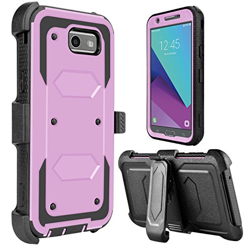 Galaxy J3 Prime Case, J3 Emerge Case, J3 2017 C ase, Amp Prime 2 Case, Tevero [Holster Series] Shockproof Protective Case with Kickstand and Belt Swivel Clip (Light Purple)