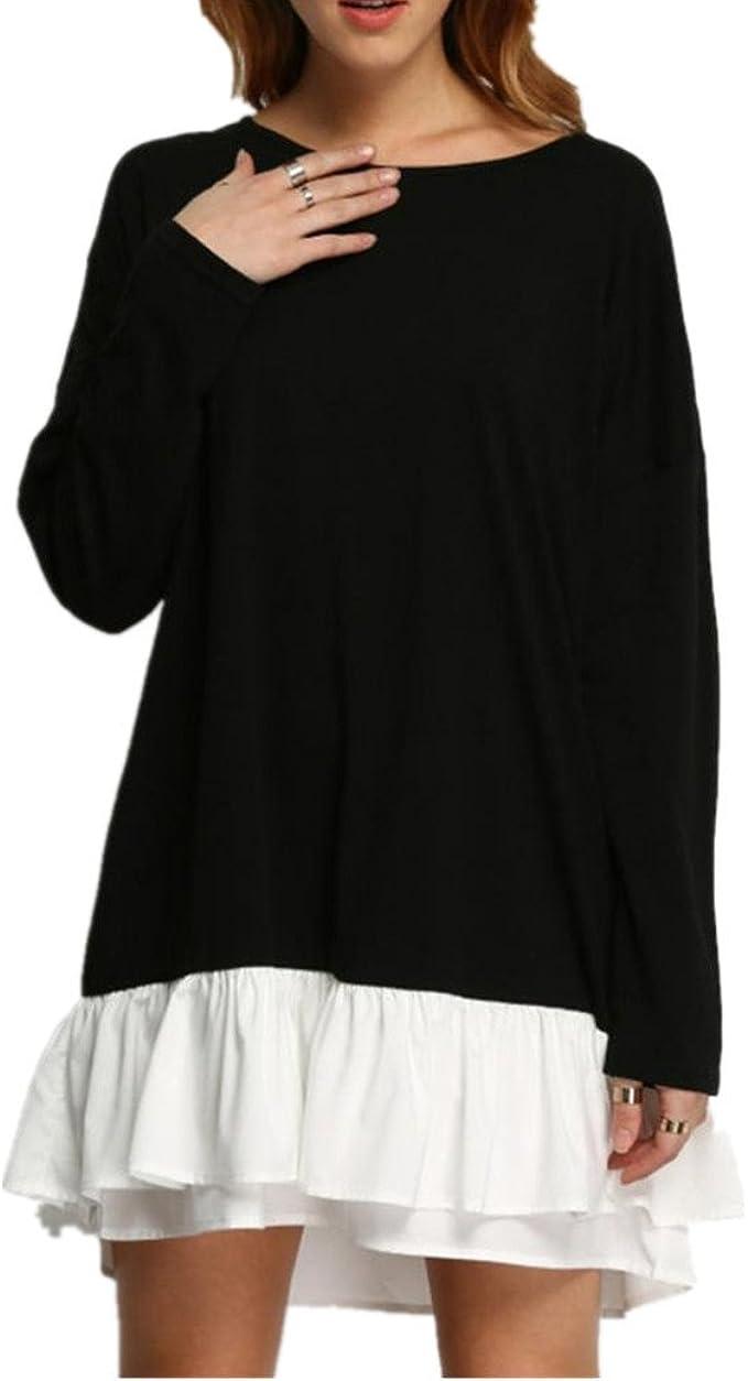 Longra Damen Plus Size Kleid Schwarzes Kleid Knielang Damen Casual