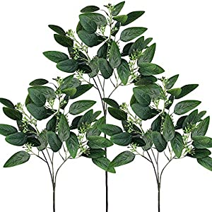 "Supla 3 Pcs Fake Seeded Eucalyptus Leaves Spray Faux Artificial Eucalyptus Stems Bulk in Green 25"" Tall for Eucalyptus Wreath Bouquet Floral Arrangement Centerpiece Holiday Greens Christmas Greenery 68"