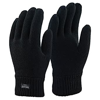 Thinsulate - Mens 3M 40 gram Black Thermal Insulated Lined Warm Winter Gloves (Small/Medium, Black)