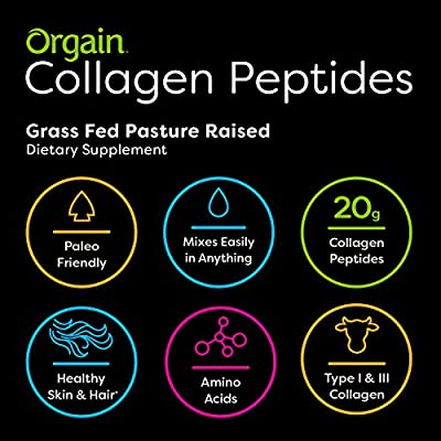 Orgain Grass Fed Hydrolyzed Collagen Peptides Protein Powder - Paleo & Keto Friendly, Pasture Raised, Gluten Free, Dairy Free, Soy Free, Non-GMO, Type I and III, 1 Pound (Packaging May Vary)