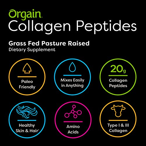 Orgain Grass Fed Hydrolyzed Collagen Peptides Protein Powder - Paleo & Keto Friendly, Amino Acid Supplement, Pasture Raised, Gluten Free, Dairy Free, Soy Free, Non-GMO, Type I and III, 1 Pound