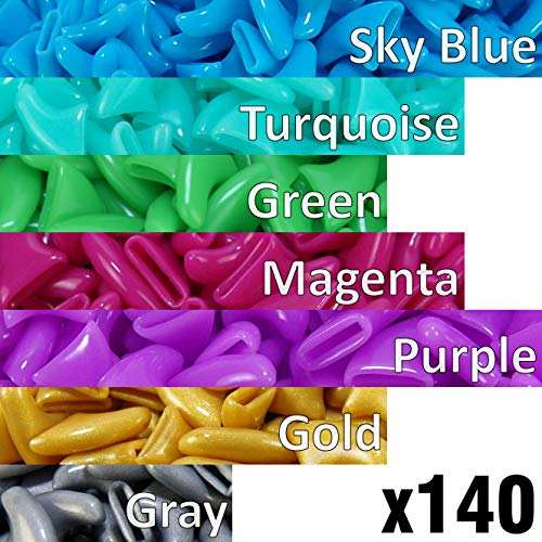 140 pcs Soft Cat Claw Caps for Cats Nail Claws 7X Colors + 7X Adhesive Glue + 7X Applicator, Pet Tips Cover Paws Soft Covers (M, Sky Blue, Turquoise, Green, Magenta, Purple, Gold, Gray)