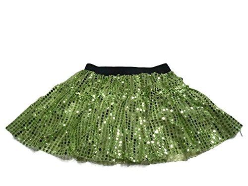 Rush Dance Sparkle Sequin Running Skirt Race Costume Glitter Ballet Tutu 5K (S/M, Lime)