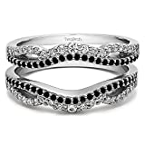 TwoBirch 0.49 ct. Black And White Cubic Zirconia Black And White Cubic Zirconia Double Infinity Wedding Ring Guard Enhancer in Sterling Silver (1/2 ct. twt.)