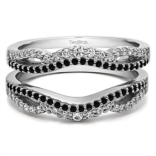 TwoBirch Black And White Cubic Zirconia Double Infinity Wedding Ring Guard Enhancer with 0.49 carats of Black And White Cubic Zirconia in Sterling Silver by TwoBirch
