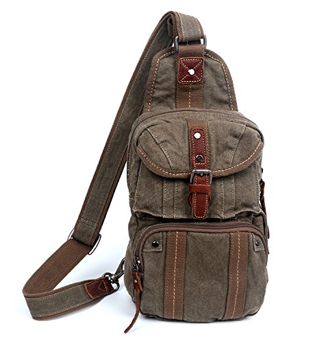The Same Direction Sunset Cove Backpack Leather and Canvas Sling Crossbody Bag (Army Green) (The Same Direction Bag)