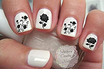 Amazon Gothic Black Roses Nail Art Decals Beauty