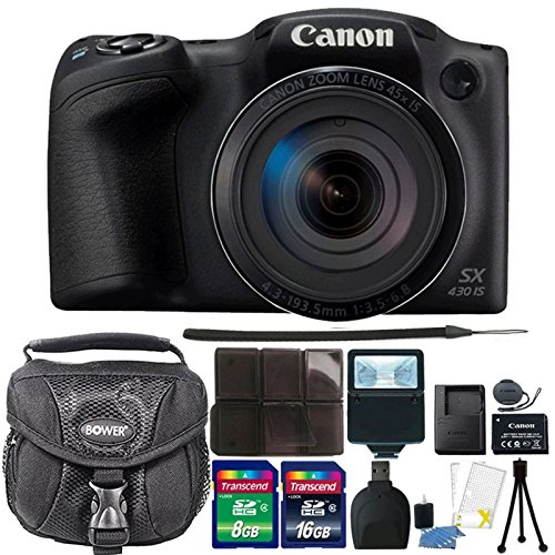 Canon PowerShot SX430 is Black Digital Camera + 24GB Memory Card + Wallet + Reader + Slave Flash + Camera Case = 3pc Cleaning Kit + Mini Tripod
