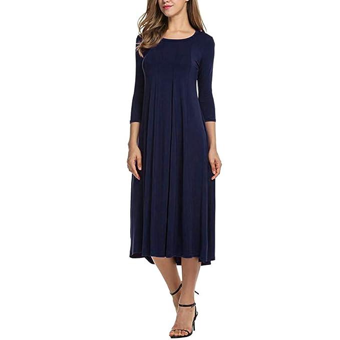 Faldas Largas Mujer Otoño, ❤️Zolimx Mujeres Casual Media Manga Vestido Suelto Señoras Noche Vestidos