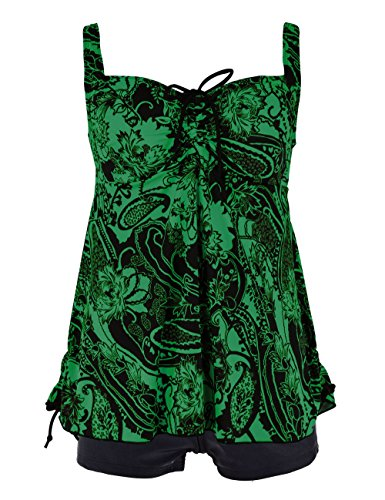 Septangle Women's Two Piece Paisley Print Padded Swimdress with Boy Shorts (Green,US 10)