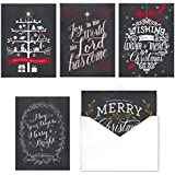 Celebrate the Season Chalkboard Christmas Card Assortment Pack - Set of 25 cards - 5 of each design, versed inside with envelopes