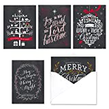Celebrate the Season Chalkboard Christmas Card Assortment Pack - Set of 25 cards - 5 of each design, versed inside with envelopes (54098)
