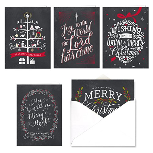 Celebrate the Season Chalkboard Christmas Card Assortment Pack - Set of 25 cards - 5 of each design, versed inside with envelopes (Cards Christmas)