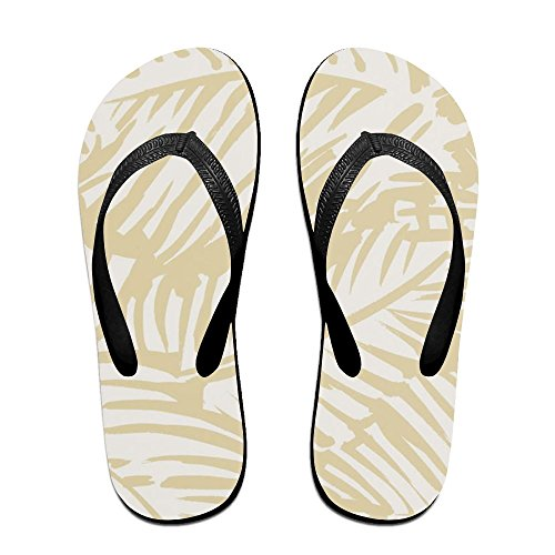 Unisex Fun Palms Pattern Summer Strap Flip Flops Beach Slippers Platforms Sandal For Men Women Black FRPiRRVOr