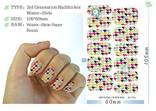 5 Sheet Water Transfer Foils Nail Art Sticker Colored Houndstooth