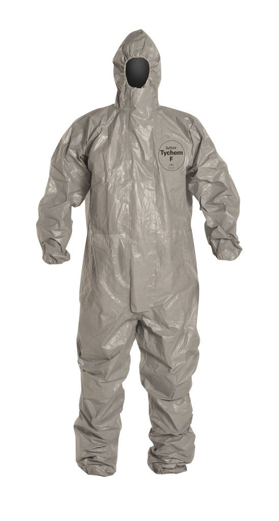 Dupont Tychem F SafeSPEC Coverall with Respirator Fit Hood, Elastic Wrists and Ankles, Taped Seam, Storm Flap, Grey [Price is per Each] (X-Large) by Tychem (Image #2)