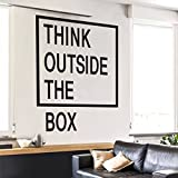 #9: THINK OUTSIDE THE BOX Wall Decal - 24 x 30 inches - Inspirational Quote Decor for Office, Tech, Start-Up, Home, Kids, Classroom