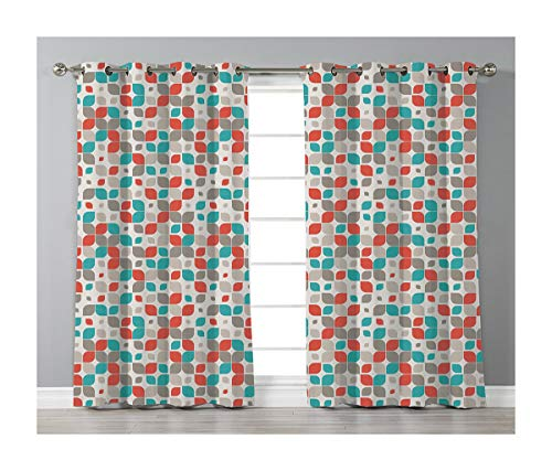 Goods247 Blackout Curtains,Grommets Panels Printed Curtains Living Room (Set of 2 Panels,55 95 Inch Length),Retro -