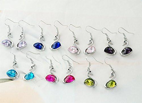 lumanuby moda pendientes Crystal Jwellery cisne forma colgante pendientes para las mujeres regalos