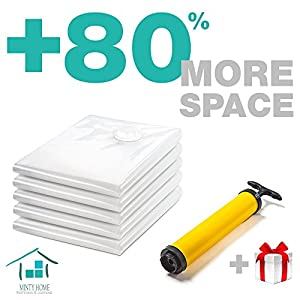 "Vacuum Space Bags for Storage of Clothes, Blankets, Comforters| 5 Large 39x 27"" Space Saver Bags
