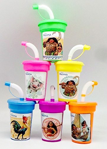 6 Disney Moana Stickers Birthday Sipper Cups with lids Party Favor (Hibiscus Flower Straws)