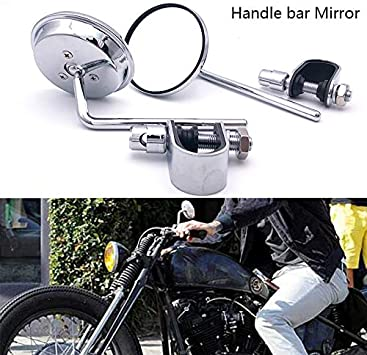 2x Black Motorcycle Rearview Side Rear View Mirrors For Harley Touring Bobber